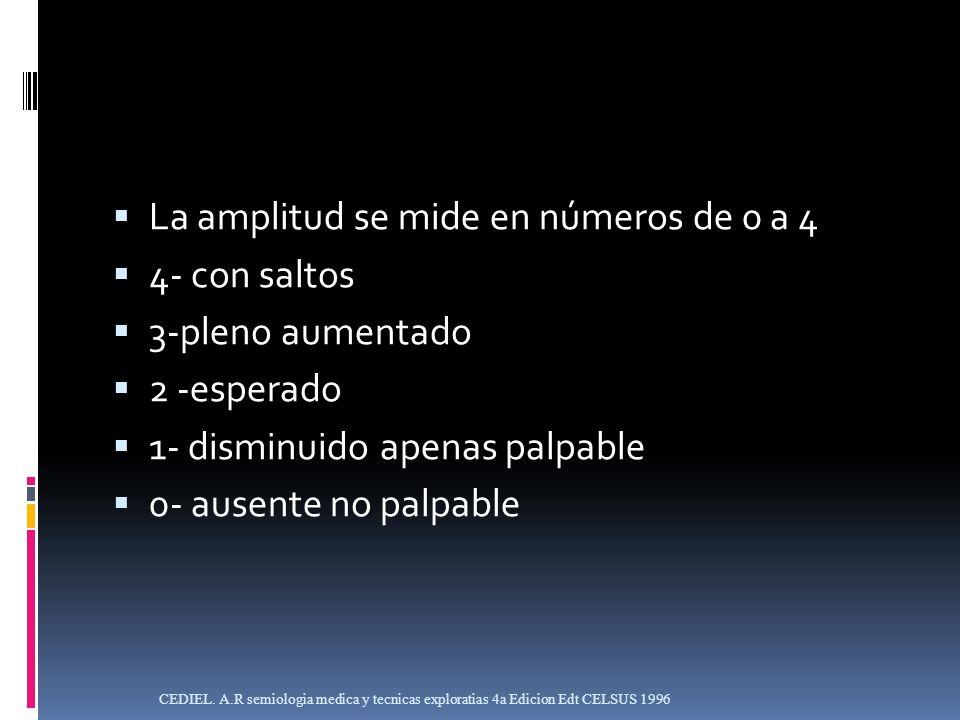 La amplitud se mide en números de 0 a 4 4- con saltos