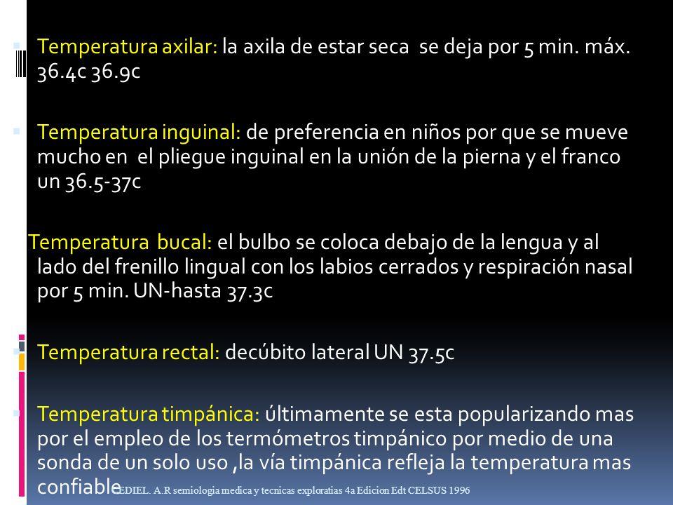 Temperatura rectal: decúbito lateral UN 37.5c