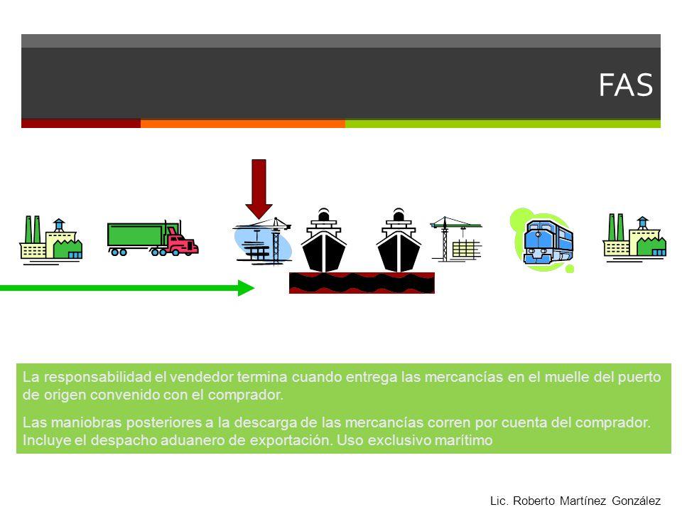 FAS La responsabilidad el vendedor termina cuando entrega las mercancías en el muelle del puerto de origen convenido con el comprador.