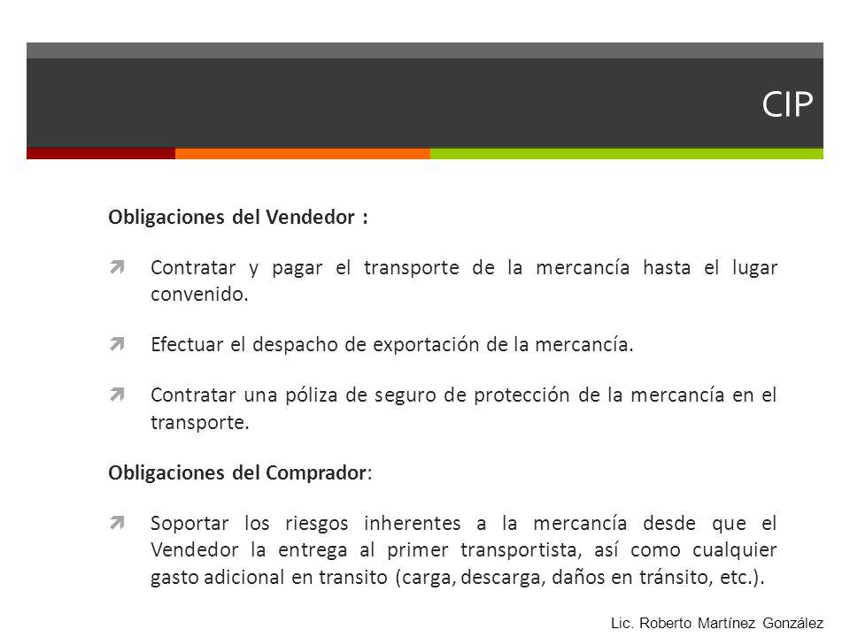 CIP Obligaciones del Vendedor :