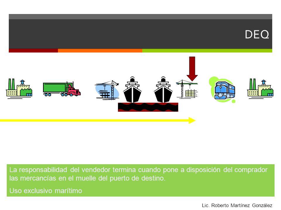 DEQ La responsabilidad del vendedor termina cuando pone a disposición del comprador las mercancías en el muelle del puerto de destino.