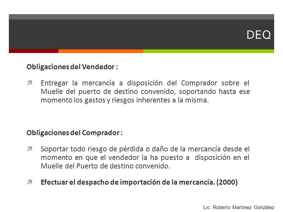 DEQ Obligaciones del Vendedor :