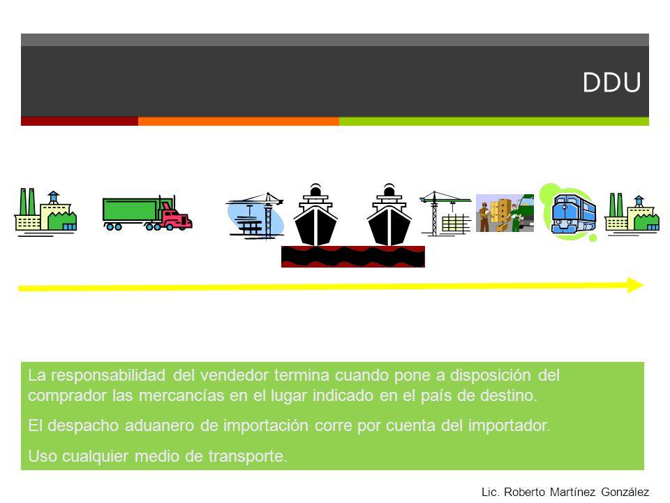 DDU La responsabilidad del vendedor termina cuando pone a disposición del comprador las mercancías en el lugar indicado en el país de destino.