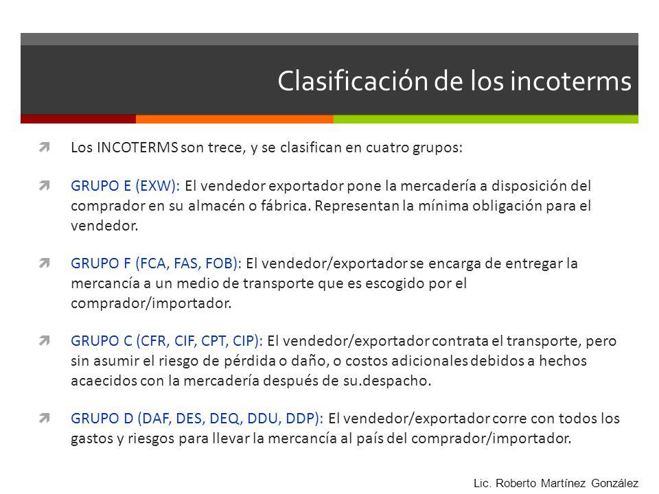 Clasificación de los incoterms