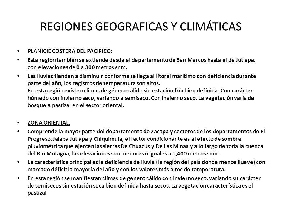 REGIONES GEOGRAFICAS Y CLIMÁTICAS