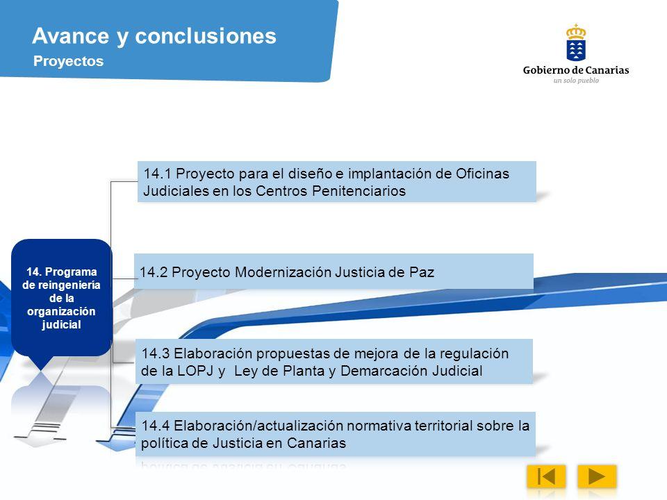 14. Programa de reingeniería de la organización judicial