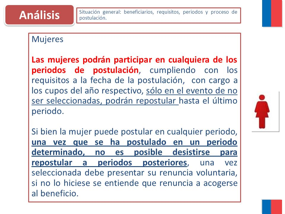 Análisis Situación general: beneficiarios, requisitos, periodos y proceso de postulación. Mujeres.