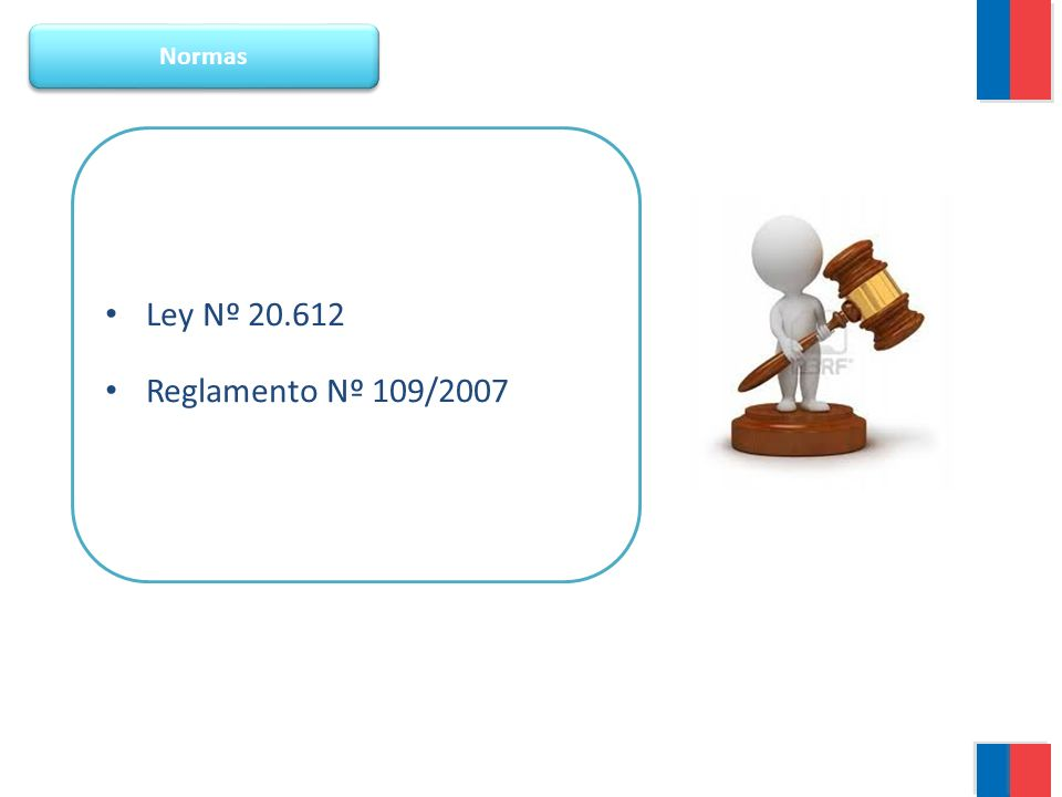 Normas Ley Nº 20.612 Reglamento Nº 109/2007
