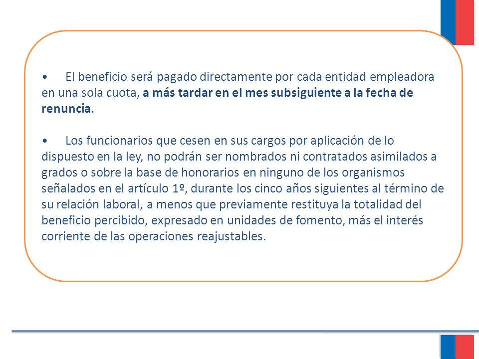 • El beneficio será pagado directamente por cada entidad empleadora en una sola cuota, a más tardar en el mes subsiguiente a la fecha de renuncia.