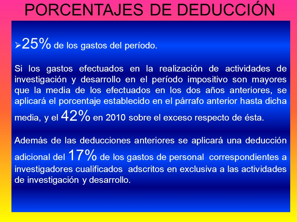PORCENTAJES DE DEDUCCIÓN