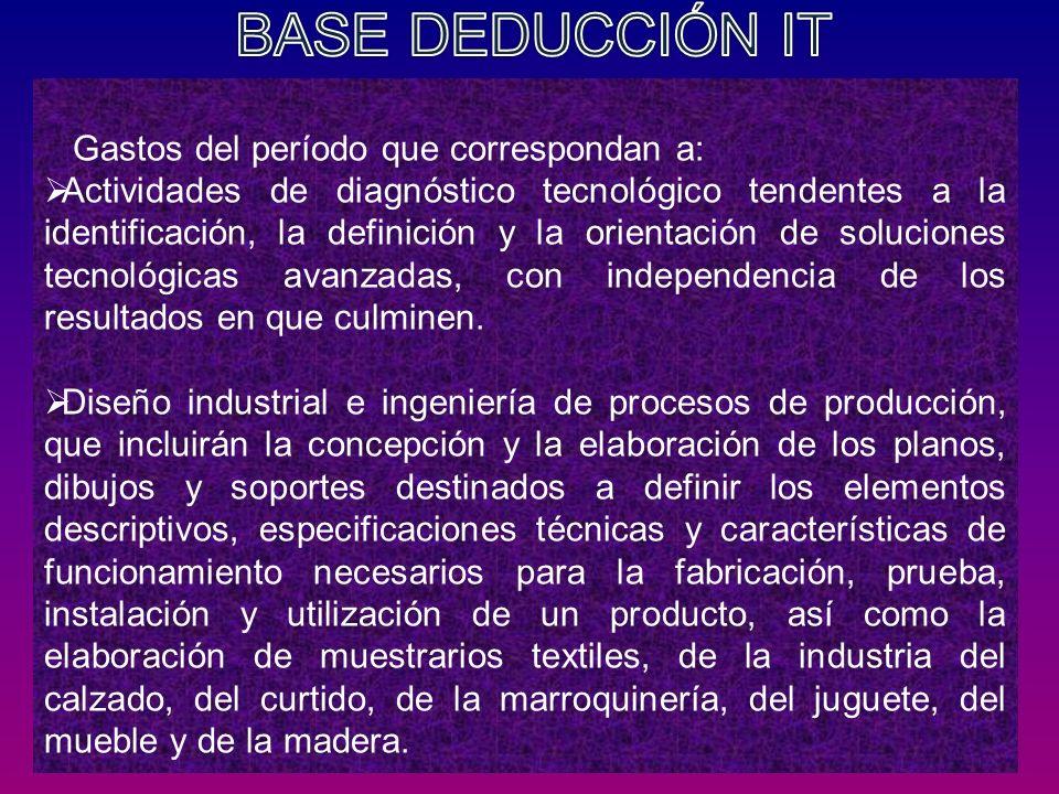 BASE DEDUCCIÓN IT Gastos del período que correspondan a:
