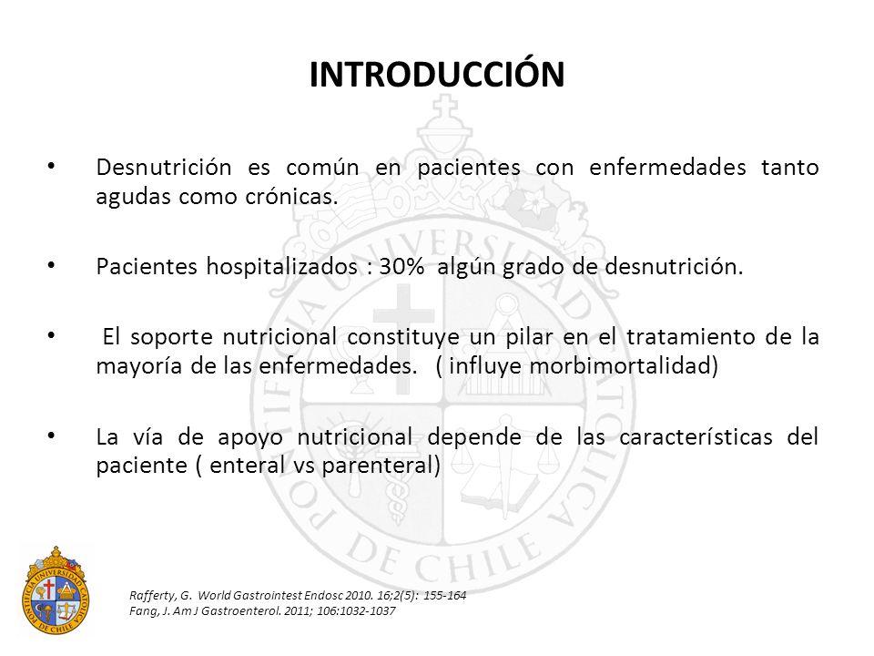 INTRODUCCIÓN Desnutrición es común en pacientes con enfermedades tanto agudas como crónicas.