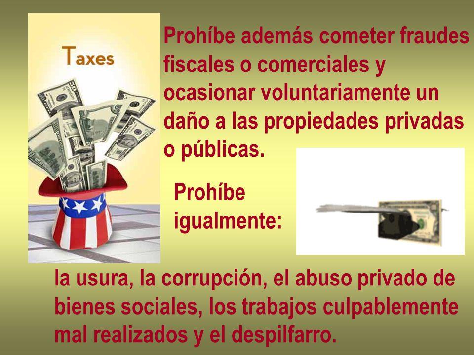 Prohíbe además cometer fraudes