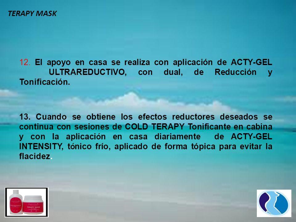 TERAPY MASK 12. El apoyo en casa se realiza con aplicación de ACTY-GEL ULTRAREDUCTIVO, con dual, de Reducción y Tonificación.