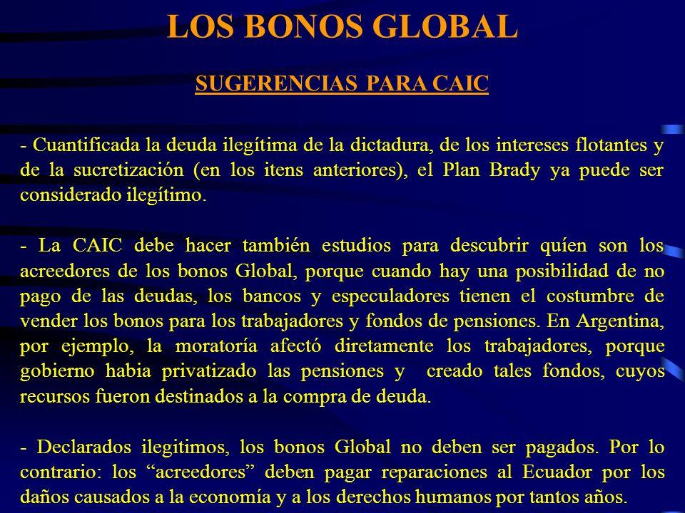 LOS BONOS GLOBAL SUGERENCIAS PARA CAIC