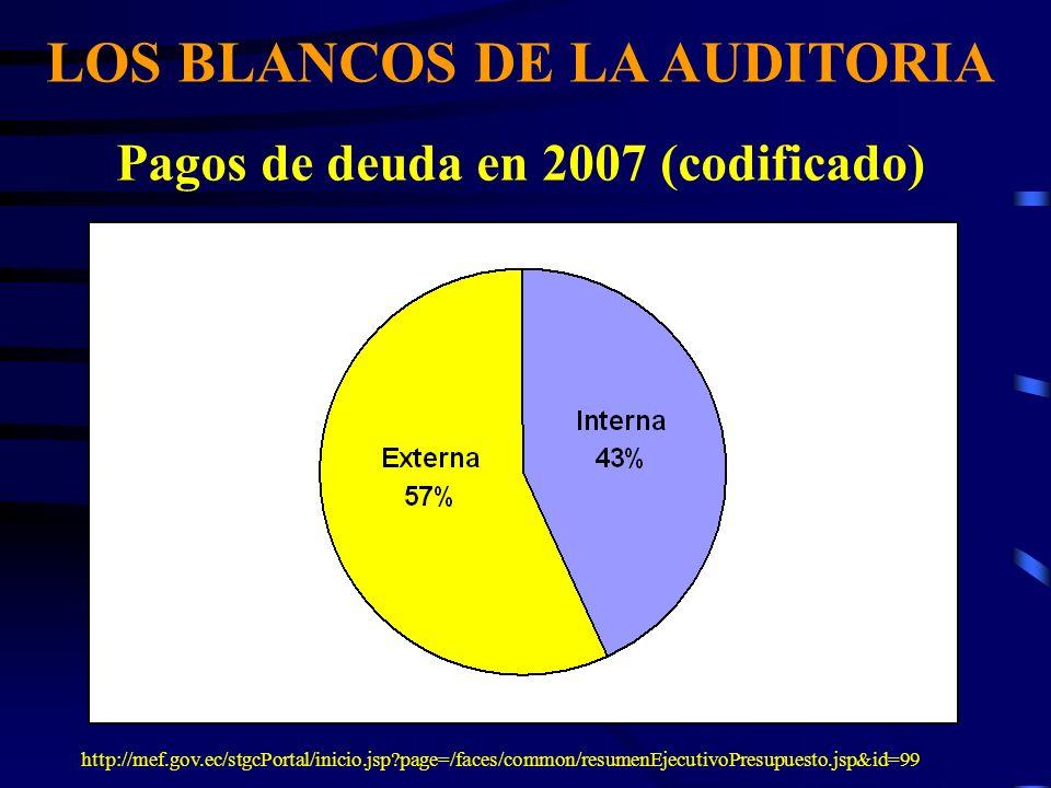 LOS BLANCOS DE LA AUDITORIA Pagos de deuda en 2007 (codificado)
