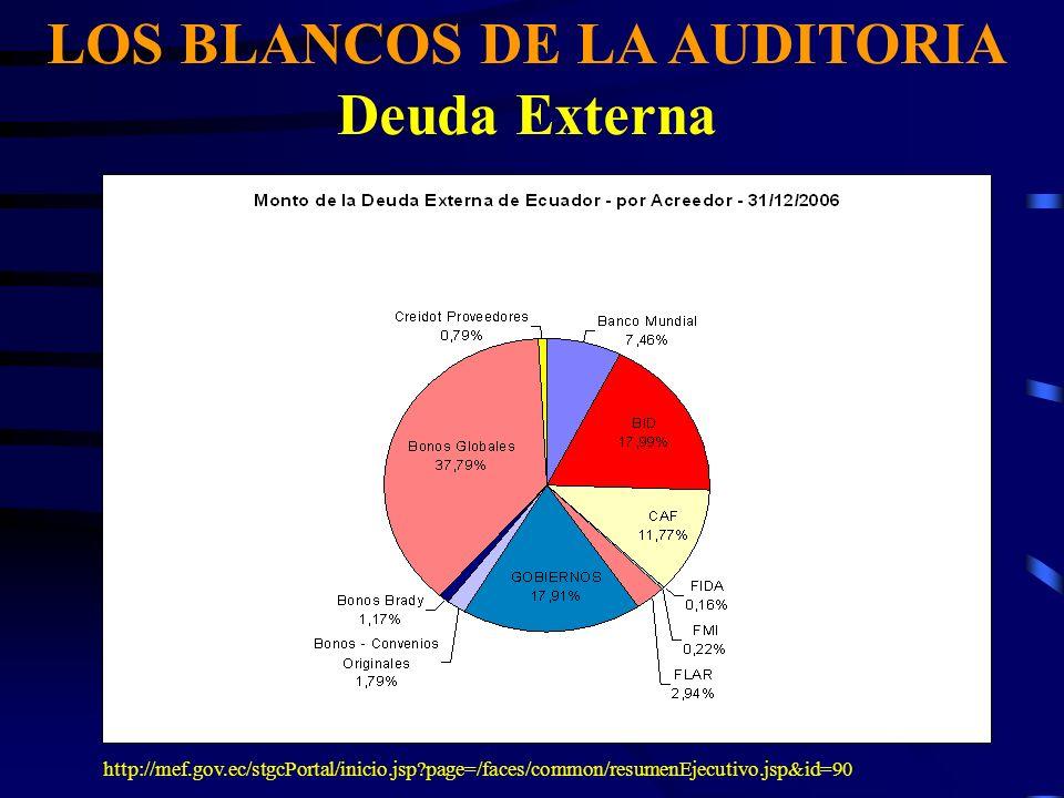 LOS BLANCOS DE LA AUDITORIA Deuda Externa