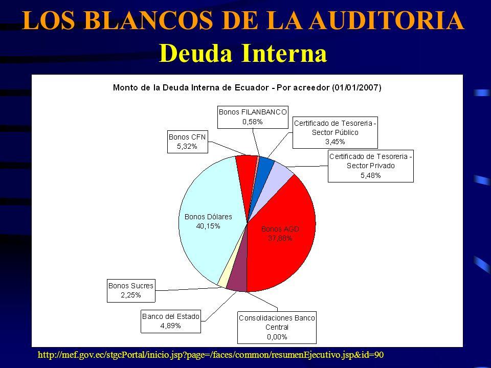 LOS BLANCOS DE LA AUDITORIA Deuda Interna