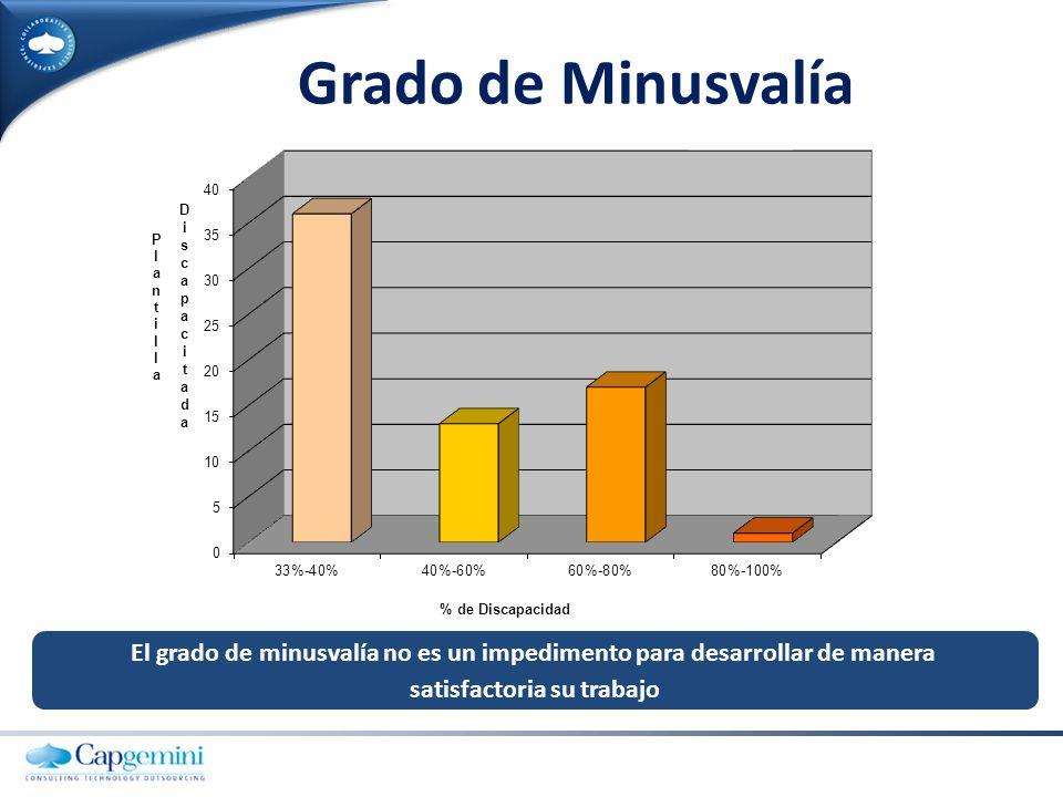 Grado de Minusvalía El grado de minusvalía no es un impedimento para desarrollar de manera.