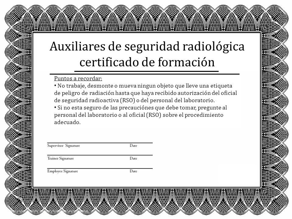 Auxiliares de seguridad radiológica certificado de formación