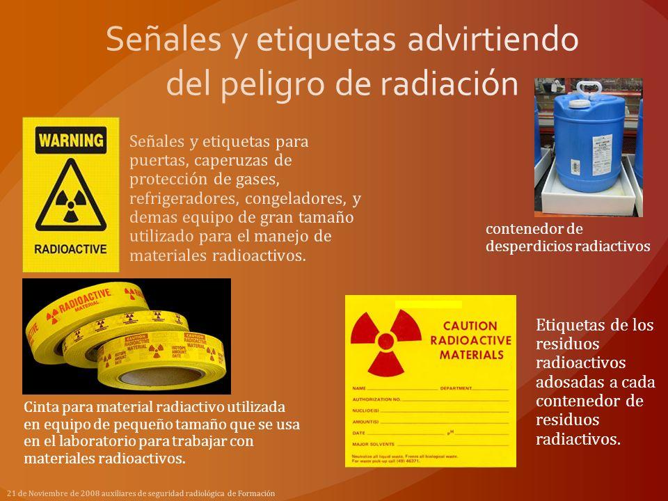 Señales y etiquetas advirtiendo del peligro de radiación