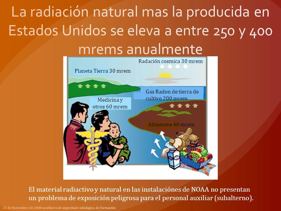 La radiación natural mas la producida en Estados Unidos se eleva a entre 250 y 400 mrems anualmente