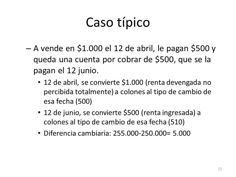 Caso típicoA vende en $1.000 el 12 de abril, le pagan $500 y queda una cuenta por cobrar de $500, que se la pagan el 12 junio.