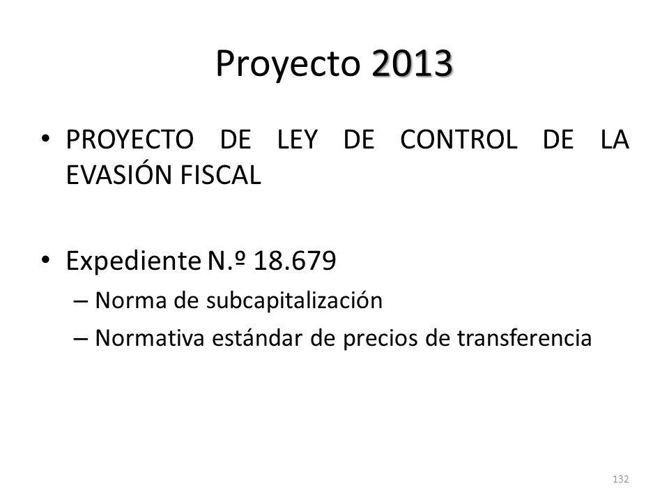 Proyecto 2013 PROYECTO DE LEY DE CONTROL DE LA EVASIÓN FISCAL