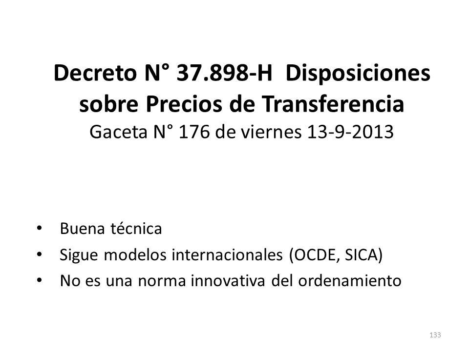 Decreto N° 37.898-H Disposiciones sobre Precios de Transferencia Gaceta N° 176 de viernes 13-9-2013