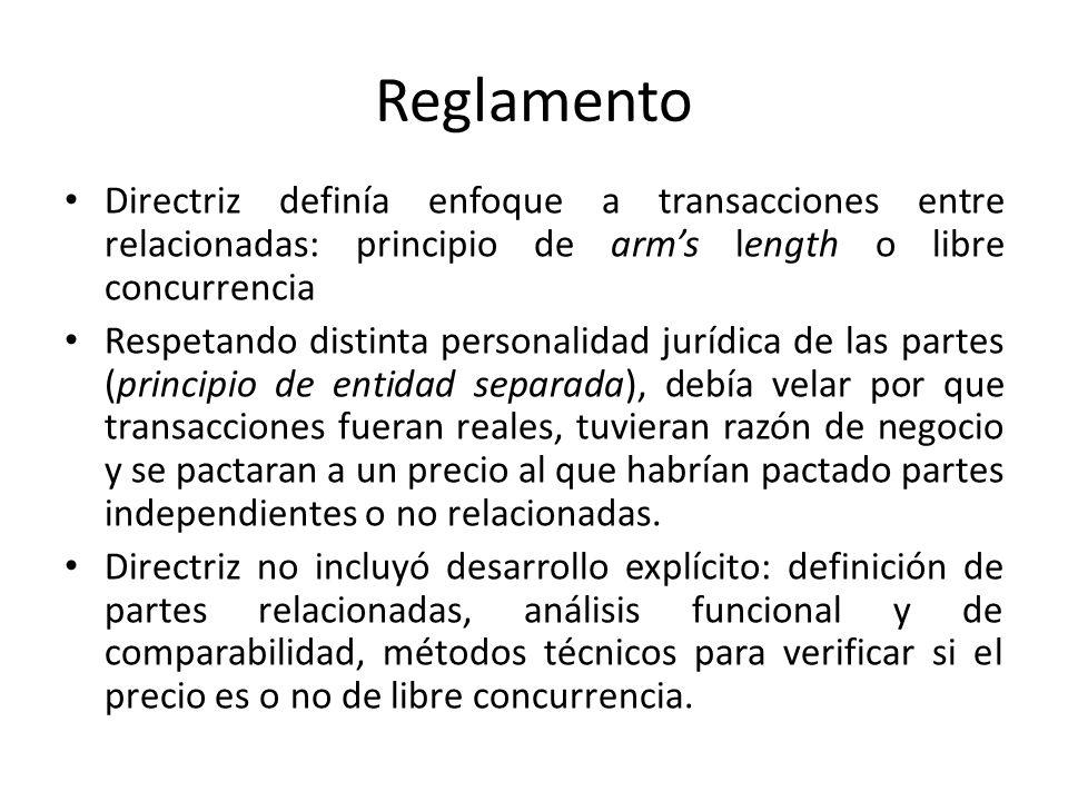 ReglamentoDirectriz definía enfoque a transacciones entre relacionadas: principio de arm's length o libre concurrencia.