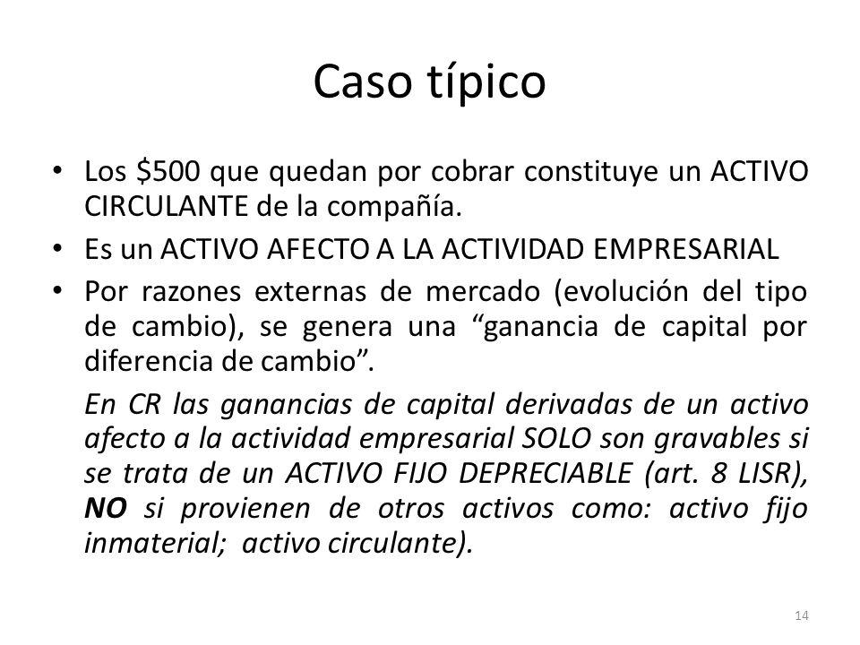 Caso típicoLos $500 que quedan por cobrar constituye un ACTIVO CIRCULANTE de la compañía. Es un ACTIVO AFECTO A LA ACTIVIDAD EMPRESARIAL.