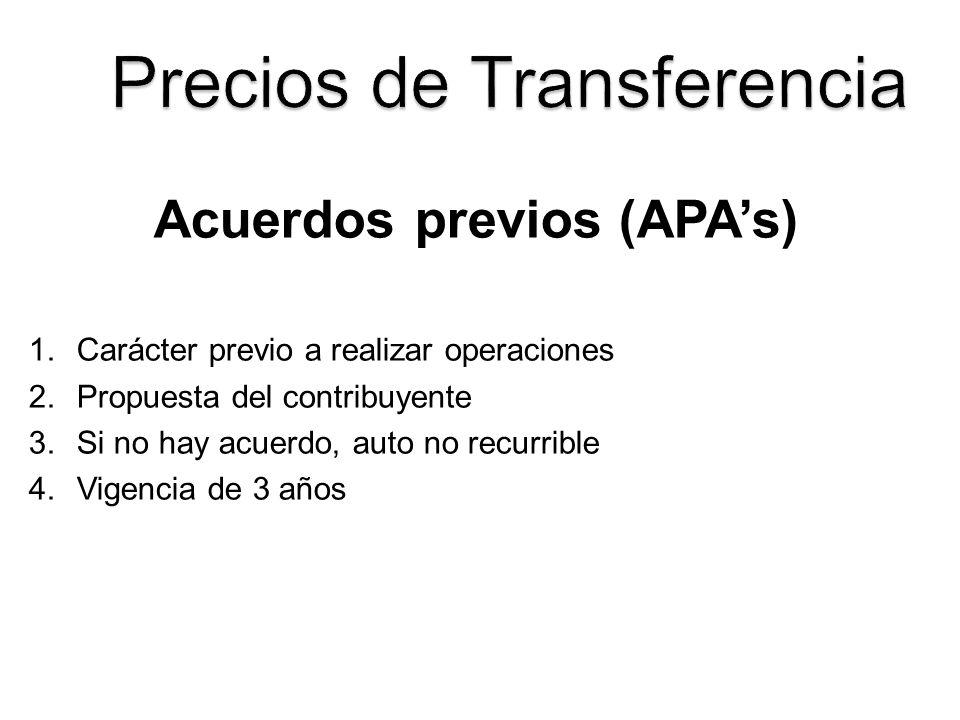 Acuerdos previos (APA's)