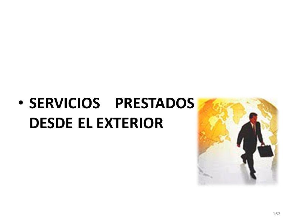 SERVICIOS PRESTADOS DESDE EL EXTERIOR