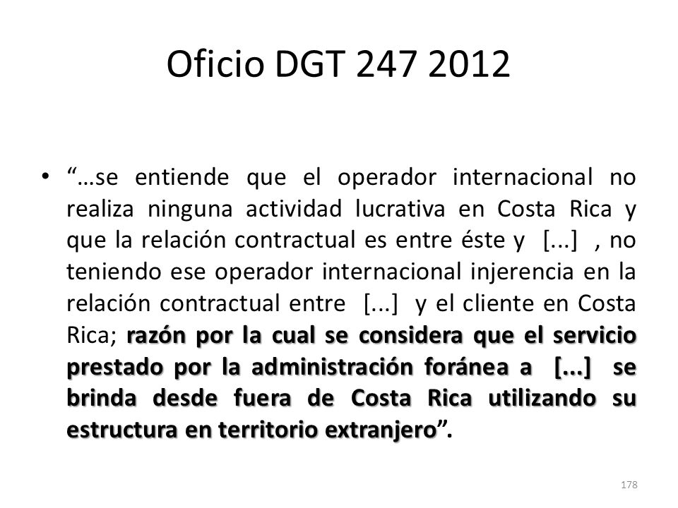 Oficio DGT 247 2012
