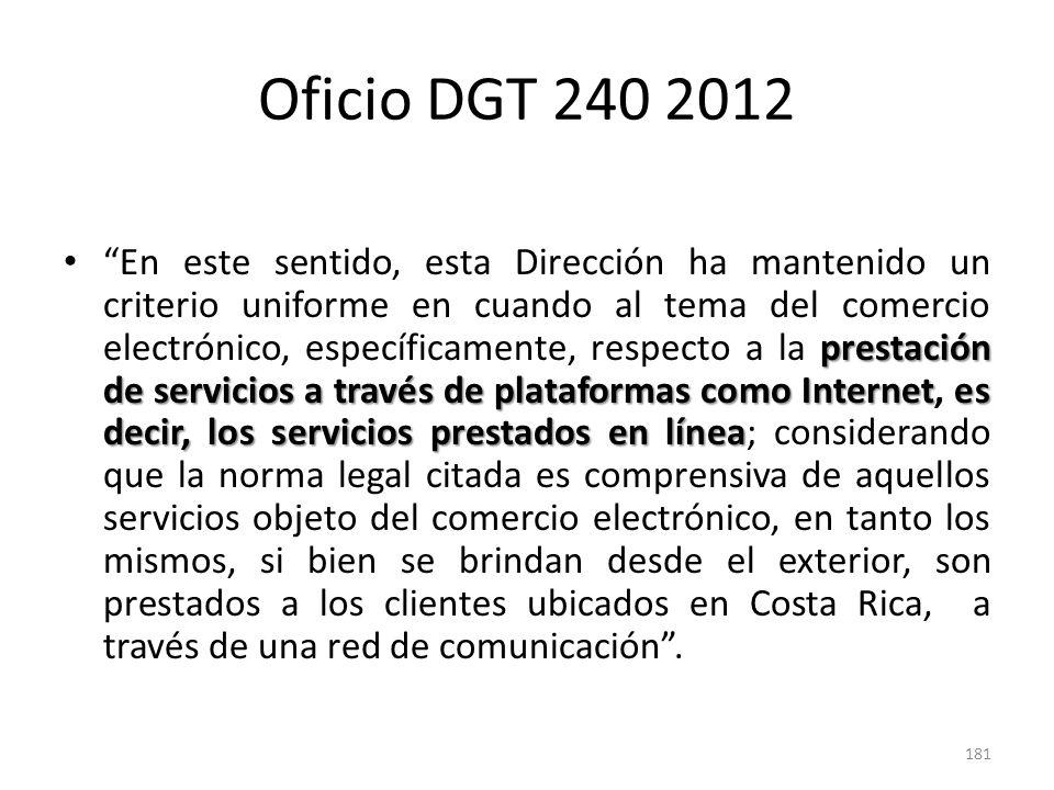 Oficio DGT 240 2012