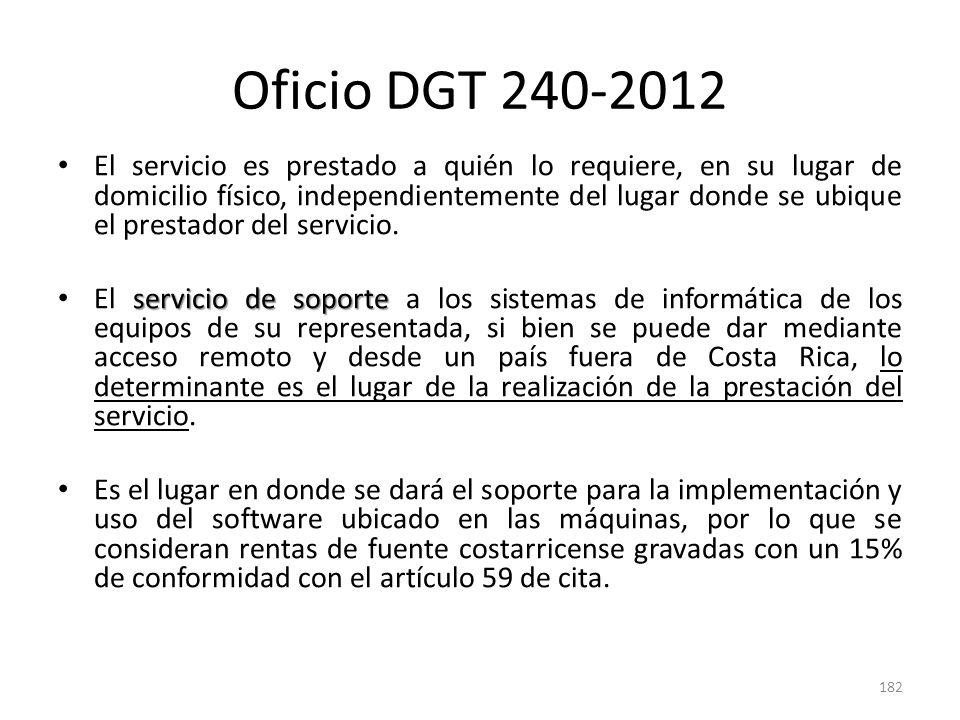 Oficio DGT 240-2012