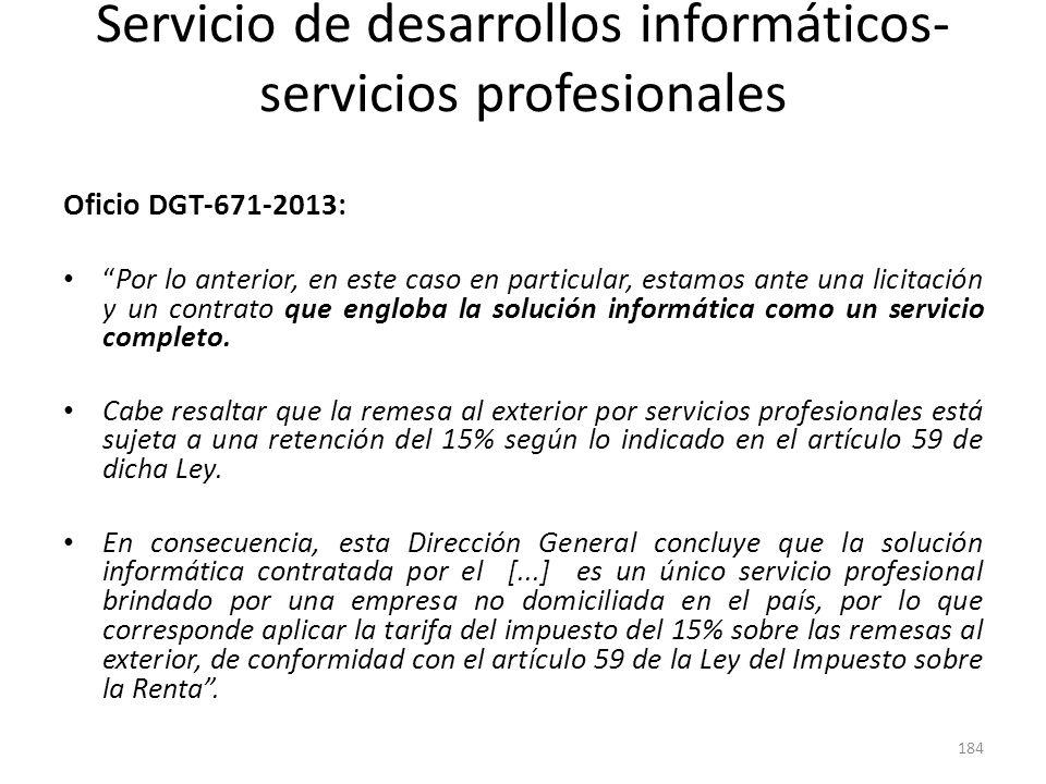 Servicio de desarrollos informáticos- servicios profesionales