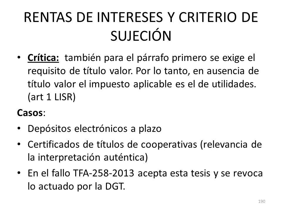 RENTAS DE INTERESES Y CRITERIO DE SUJECIÓN