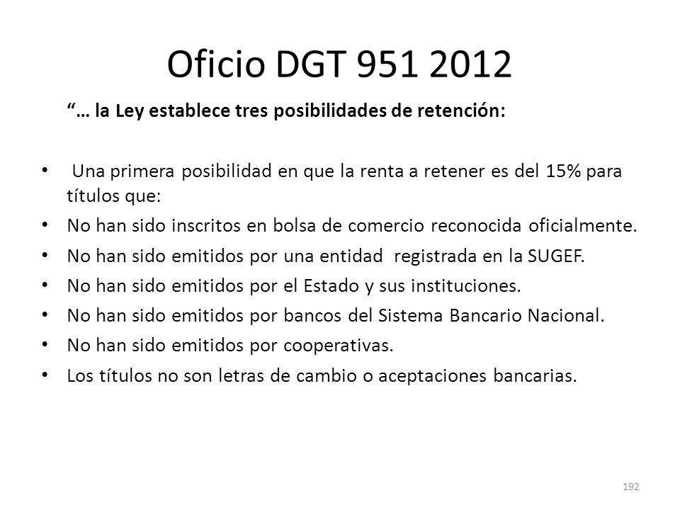 Oficio DGT 951 2012 … la Ley establece tres posibilidades de retención: