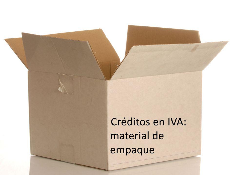 Créditos en IVA: material de empaque