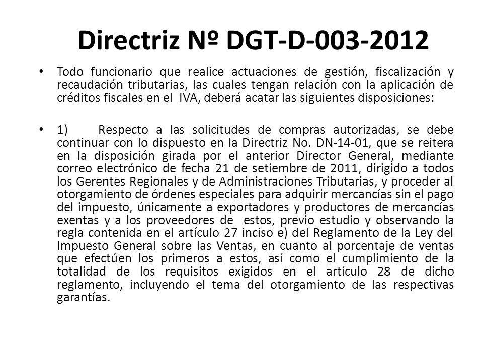 Directriz Nº DGT-D-003-2012
