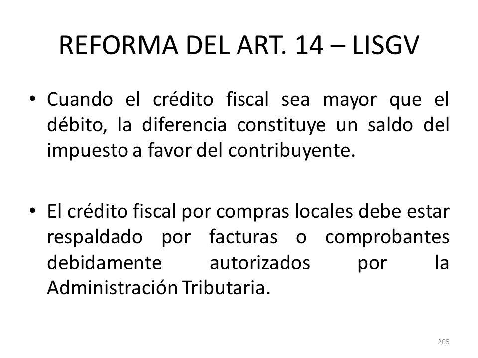 REFORMA DEL ART. 14 – LISGV