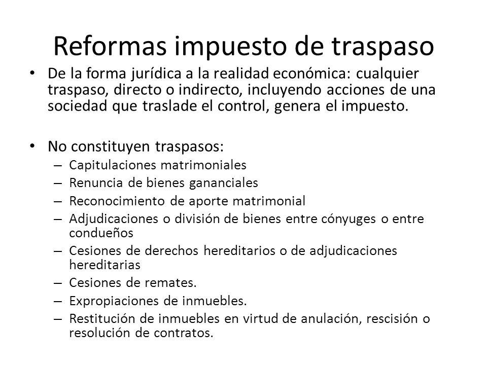 Reformas impuesto de traspaso