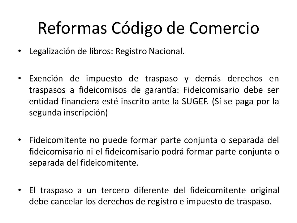 Reformas Código de Comercio