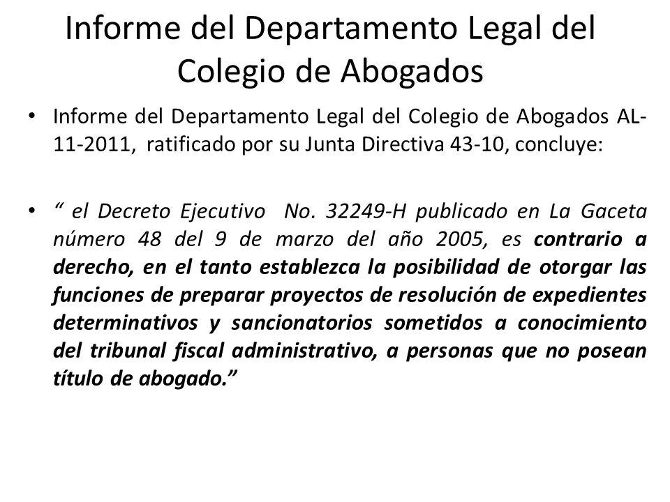 Informe del Departamento Legal del Colegio de Abogados