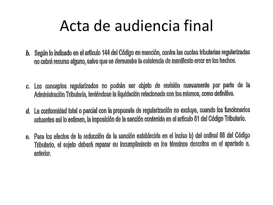 Acta de audiencia final