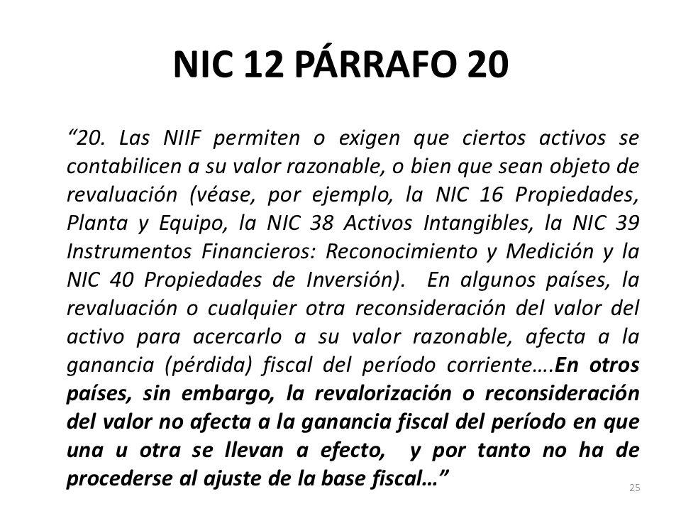 NIC 12 PÁRRAFO 20