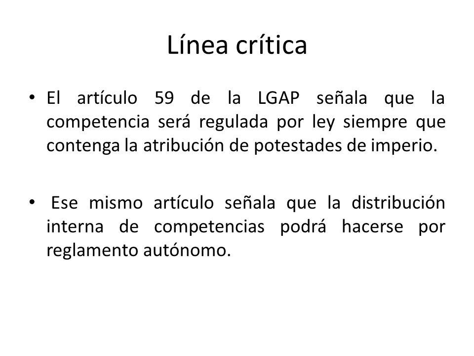 Línea críticaEl artículo 59 de la LGAP señala que la competencia será regulada por ley siempre que contenga la atribución de potestades de imperio.