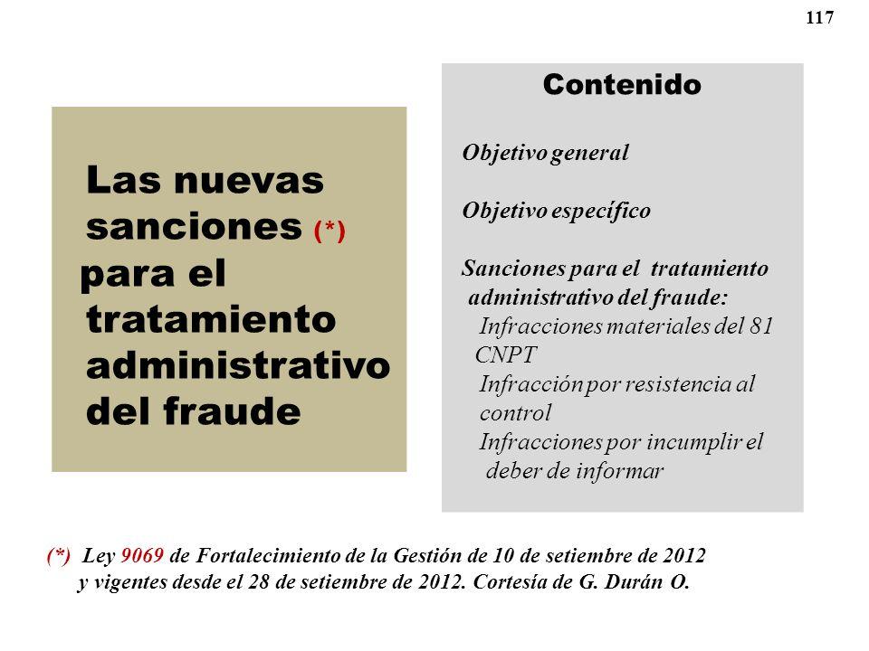 Las nuevas sanciones (*) tratamiento administrativo del fraude
