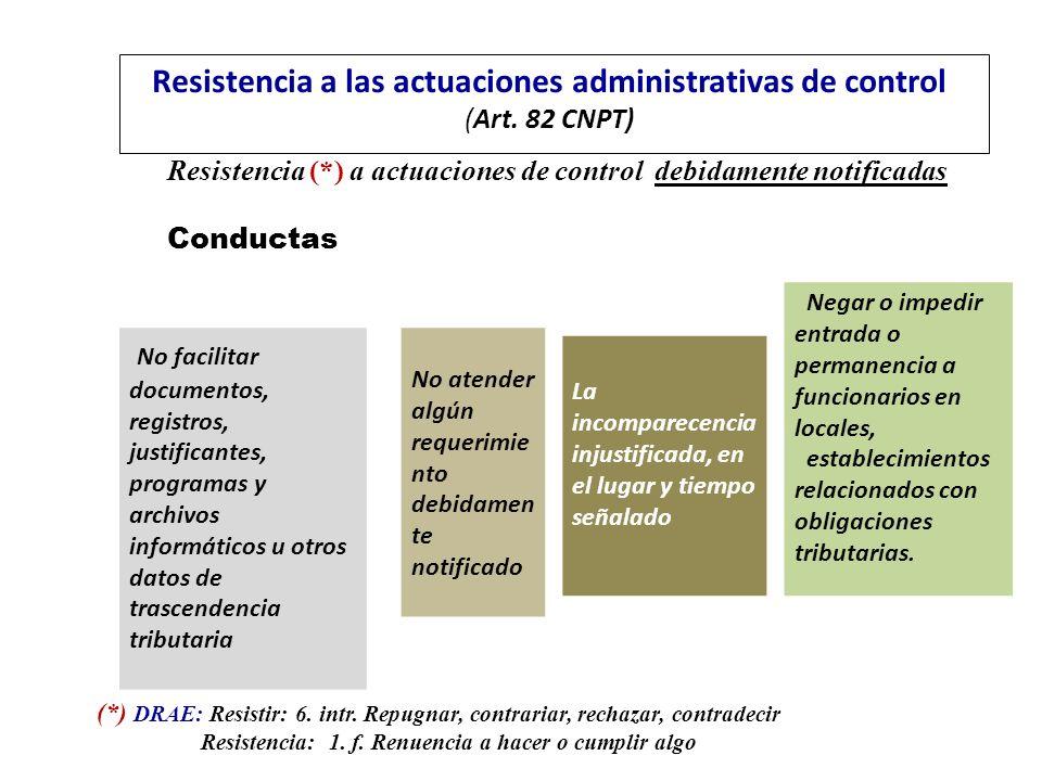 Resistencia a las actuaciones administrativas de control (Art. 82 CNPT)